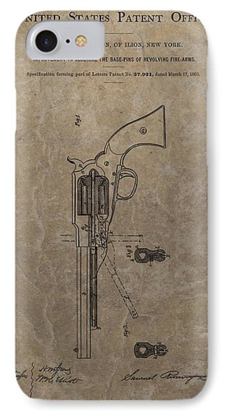 Remington Revolver Patent IPhone Case by Dan Sproul