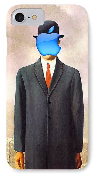 Rene Magritte Son Of Man Apple Computer Logo IPhone Case by Tony Rubino