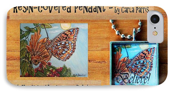 Resin Pendant With Butterfly And Sky Phone Case by Carla Parris