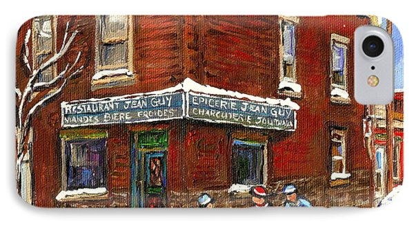 Restaurant Epicerie Jean Guy Pointe St. Charles Montreal Art Verdun Winter Scenes Hockey Paintings   IPhone Case by Carole Spandau