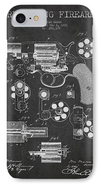 Revolving Firearm Patent Drawing From 1881 - Dark IPhone Case by Aged Pixel