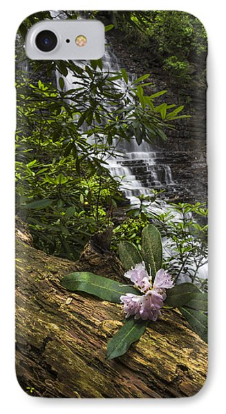 Rhododendron At The Falls Phone Case by Debra and Dave Vanderlaan