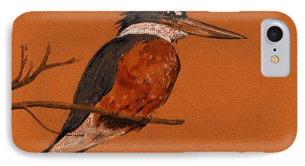 Ringed Kingfisher Bird IPhone Case by Juan  Bosco