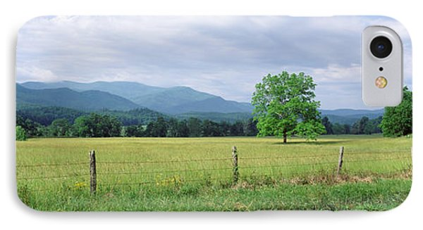 Road Along A Grass Field, Cades Cove IPhone Case by Panoramic Images