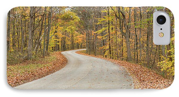 Road Passing Through A Forest, Brown IPhone Case by Panoramic Images
