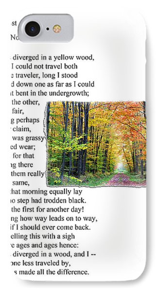 Robert Frost - The Road Not Taken Phone Case by Ed Churchill
