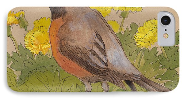 Robin In The Dandelions IPhone 7 Case by Tracie Thompson