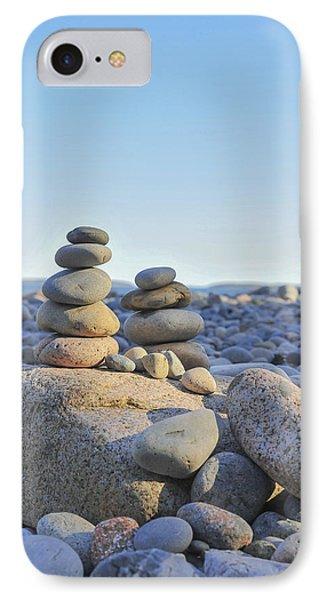 Rock Piles Zen Stones Little Hunters Beach Maine IPhone Case by Terry DeLuco