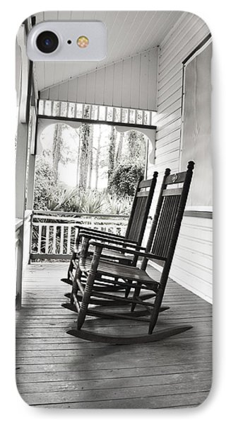 Rocking Chairs On Porch IPhone Case by Rebecca Brittain