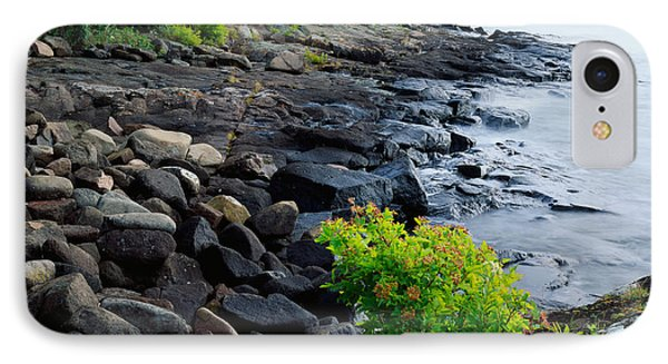 Rocks And Trees Along Lake Superior IPhone Case by Panoramic Images