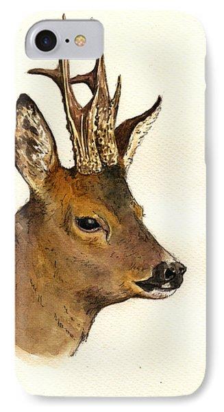 Roe Deer Head Study IPhone Case by Juan  Bosco