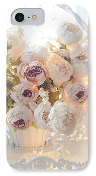 Romantic Shabby Chic Dreamy Pink And White Peonies - Shabby Chic Peonies In Basket IPhone Case by Kathy Fornal