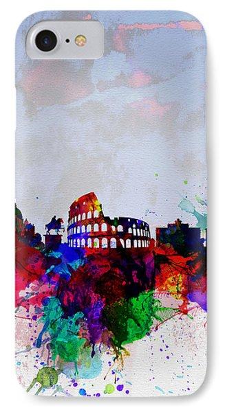 Rome Watercolor Skyline IPhone Case by Naxart Studio