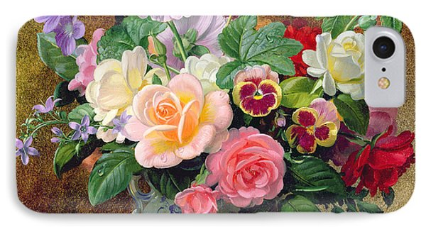 Roses Pansies And Other Flowers In A Vase IPhone Case by Albert Williams