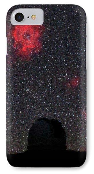 Rosette Nebula And Telescope IPhone Case by Babak Tafreshi