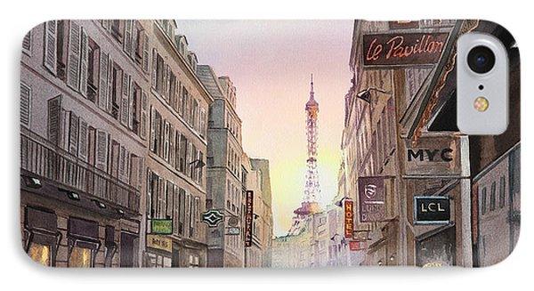 Rue Saint Dominique Sunset Through Eiffel Tower   IPhone Case by Irina Sztukowski