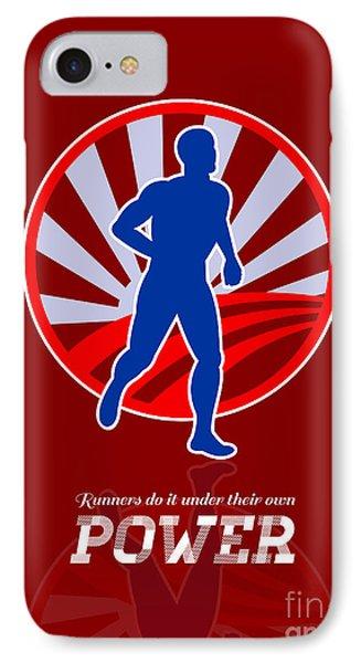 Runner Running Power Retro Poster Phone Case by Aloysius Patrimonio