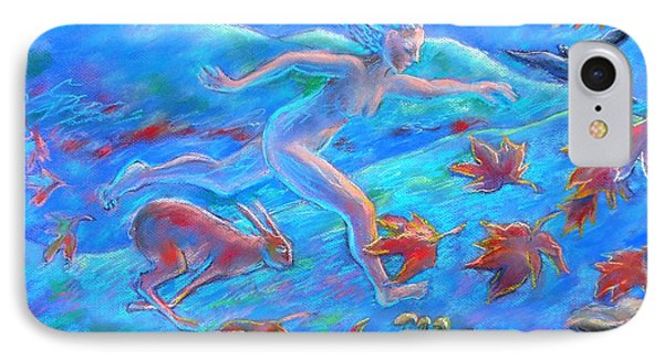 Running With The Hare IPhone Case by Trudi Doyle