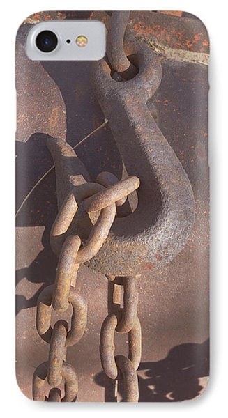 Rusted Hook And Chain Phone Case by Ann Powell