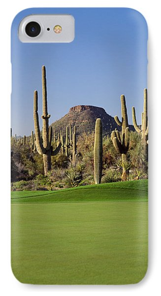 Saguaro Cacti In A Golf Course, Troon IPhone Case by Panoramic Images