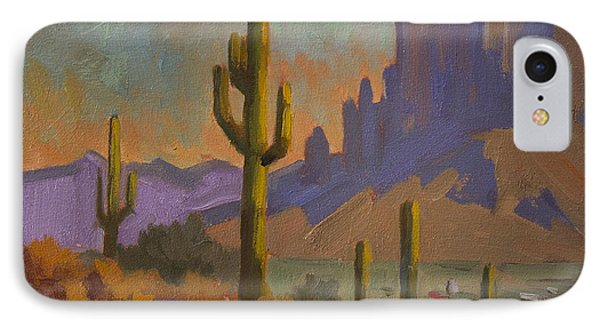 Saguaro Cactus And Apache Junction IPhone Case by Diane McClary