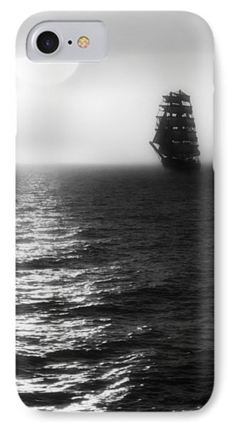 Sailing Out Of The Fog - Black And White Phone Case by Jason Politte