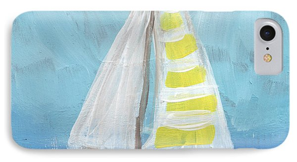 Sailing- Sailboat Painting IPhone Case by Linda Woods
