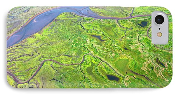 Salt Marshes From The Air. IPhone Case by Mark Williamson