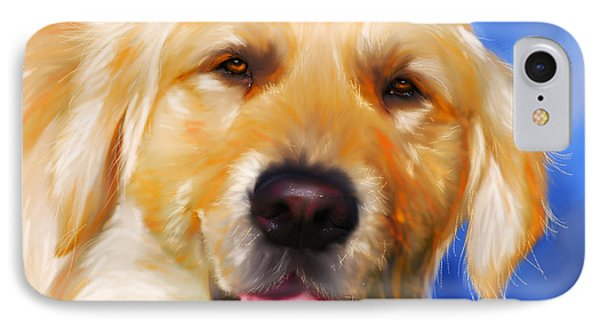 Happy Golden Retriever Painting IPhone Case by Michelle Wrighton