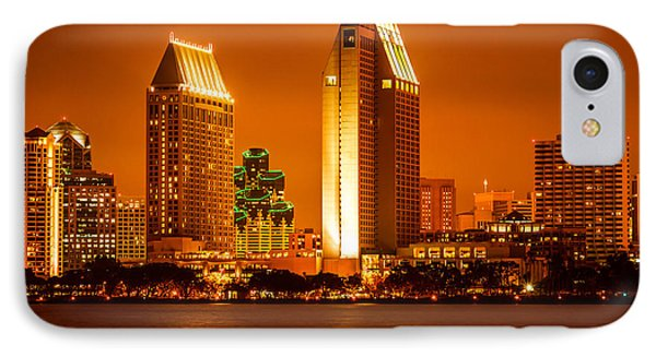 San Diego Skyline At Night Along San Diego Bay Phone Case by Paul Velgos