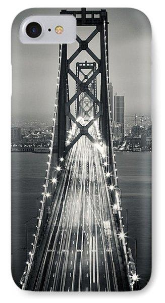 San Francisco - Oakland Bay Bridge Bw IPhone Case by Adam Romanowicz