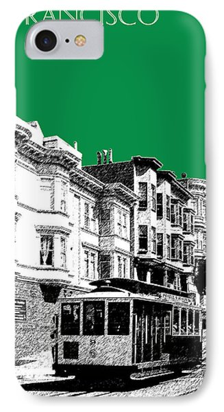 San Francisco Skyline Cable Car 2 - Forest Green Phone Case by DB Artist