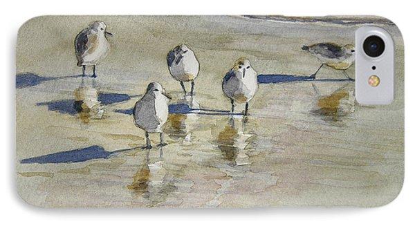Sandpipers 2 Watercolor 5-13-12 Julianne Felton IPhone 7 Case by Julianne Felton