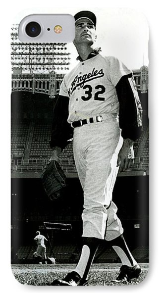 Sandy Koufax Vintage Baseball Poster IPhone Case by Gianfranco Weiss