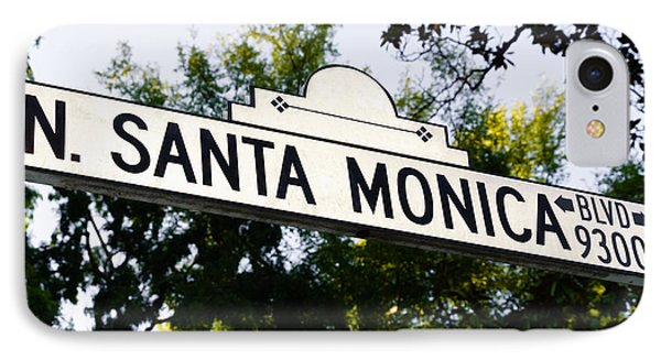 Santa Monica Blvd Street Sign In Beverly Hills IPhone Case by Paul Velgos