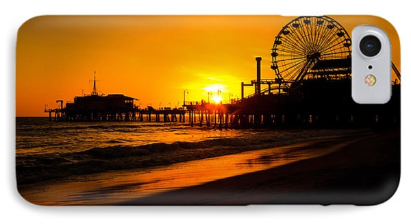 Santa Monica Pier California Sunset Photo IPhone Case by Paul Velgos