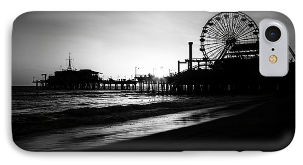Santa Monica Pier In Black And White IPhone 7 Case by Paul Velgos
