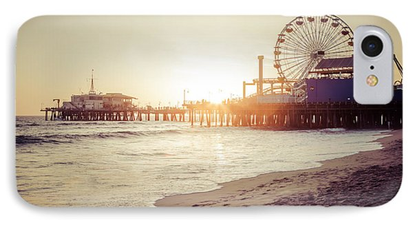 Santa Monica Pier Retro Sunset Picture IPhone Case by Paul Velgos
