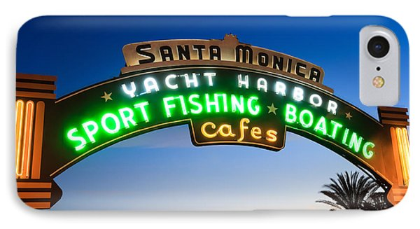Santa Monica Pier Sign Phone Case by Paul Velgos