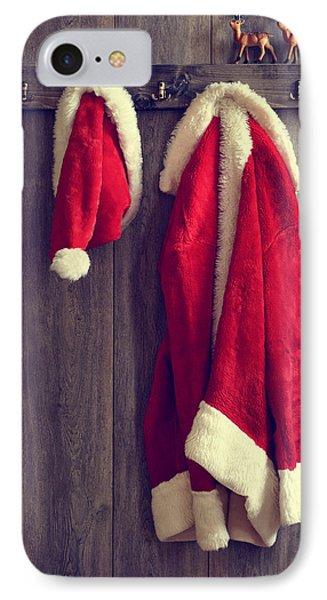 Santa's Hat And Coat IPhone Case by Amanda Elwell