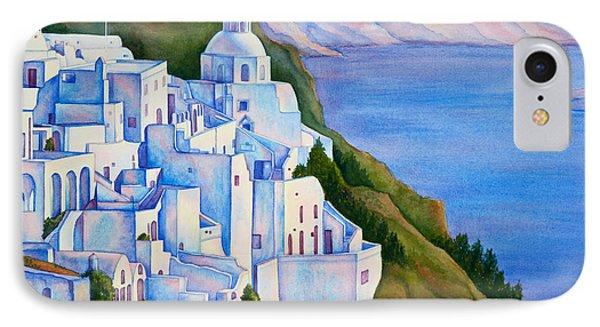 Santorini Greece Watercolor Phone Case by Michelle Wiarda