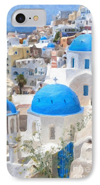 Santorini Oil Painting IPhone Case by Antony McAulay