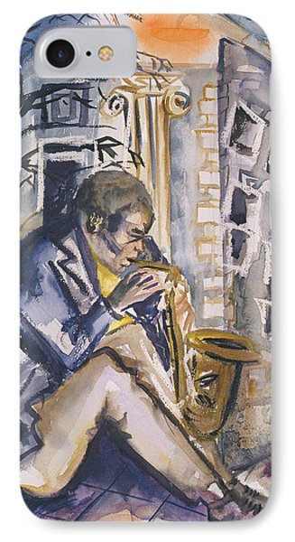 Sax Player, 1998 Wc On Paper IPhone Case by Hilary Rosen