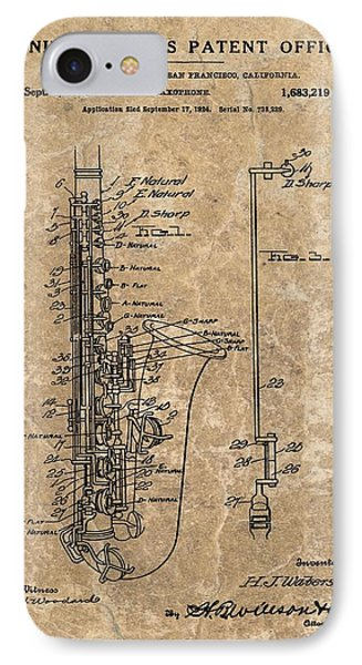 Saxophone Patent Design Illustration IPhone Case by Dan Sproul