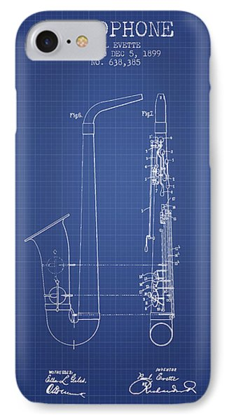 Saxophone Patent From 1899 - Blueprint IPhone Case by Aged Pixel