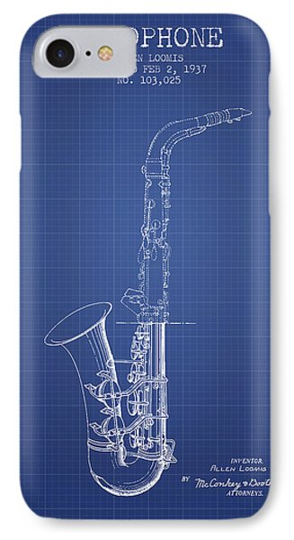 Saxophone Patent From 1937 - Blueprint IPhone Case by Aged Pixel