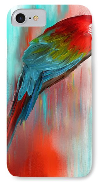 Scarlet- Red And Turquoise Art IPhone 7 Case by Lourry Legarde