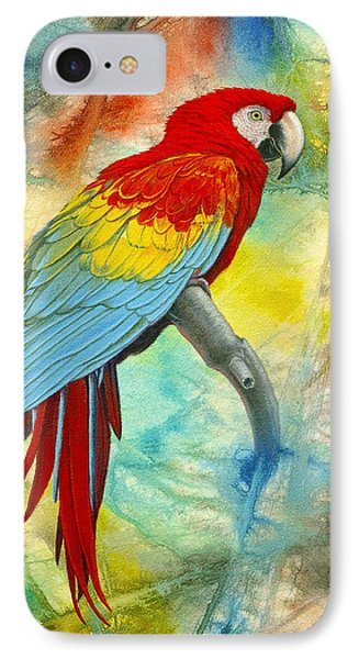 Scarlet Macaw In Abstract IPhone 7 Case by Paul Krapf