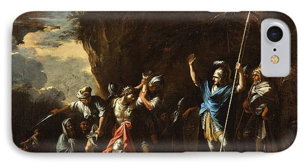 Scene From Greek History. The Deaf-mute Son Of King Croesus Prevents The Persians From Killing His F IPhone Case by Salvator Rosa