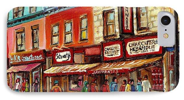 Schwartz The Musical Painting By Carole Spandau Montreal Streetscene Artist IPhone Case by Carole Spandau